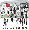 Vector illustration of old houses in Montreal, Canada - stock photo