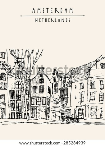 Vector illustration of old houses with bicycles in Amsterdam, Holland, Netherlands, Europe. Historical building line art. Freehand drawing with liner pen on paper. Sketchy grungy postcard template - stock vector