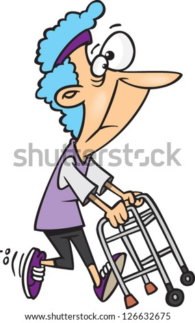 Vector illustration of old lady granny running with walker - stock vector