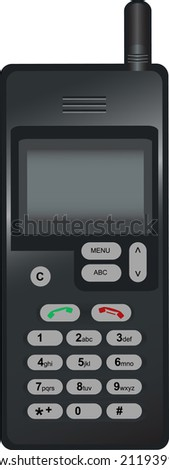 Vector illustration of Old mobile phone