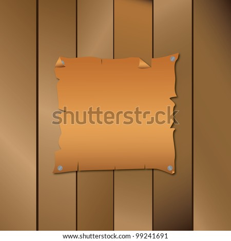 vector illustration of old paper on wood - stock vector