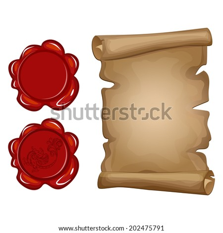 Vector illustration of old paper scroll and red wax seal  - stock vector