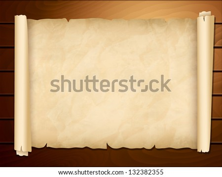 Vector illustration of old papyrus on the wooden background