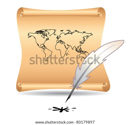 vector illustration of old papyrus with map and feather