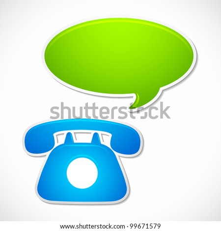 vector illustration of old rotary phone with chat bubble - stock vector