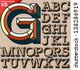 Vector illustration of old school beveled alphabet. Outlined version. Upper case - stock vector