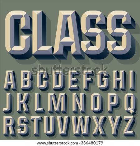 Vector illustration of old school beveled alphabet. Simple colored version. Alphabet - stock vector
