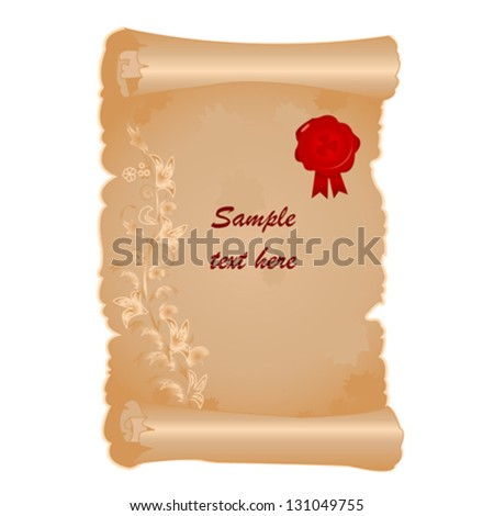 Vector illustration of old scroll with red stamp - stock vector