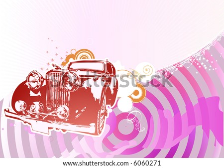 Vector Illustration of old vintage custom collector's car on glamour background - stock vector