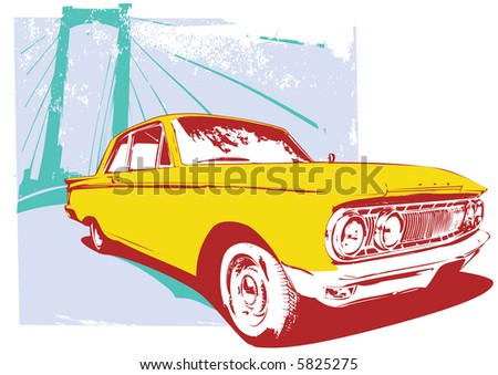 Vector Illustration of old vintage custom collector's car on grunge  urban background - stock vector