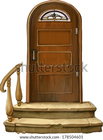 Vector illustration of Old wooden door with stain glass, Italy. Isolated on white background - stock vector