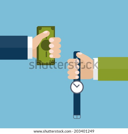 Vector illustration of one hand holding money and the other hand holding hand watch. Swap money for time. Time is money metaphor. - stock vector