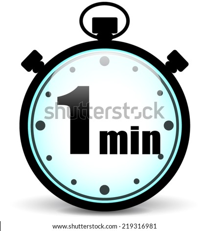 Vector illustration of one minute stopwatch sign concept - stock vector