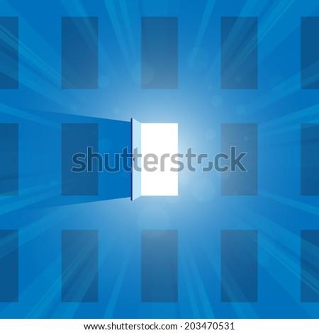 Vector illustration of one open door full of light. - stock vector