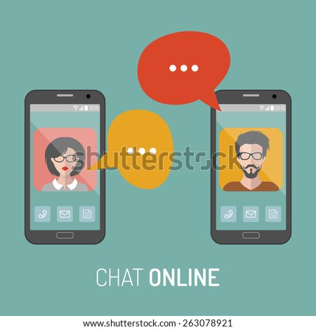Vector illustration of online chat man and woman app icons in flat style - stock vector