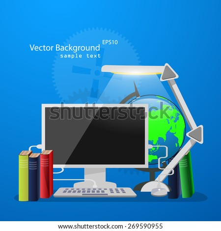 Vector illustration of online learning with flat icons. - stock vector