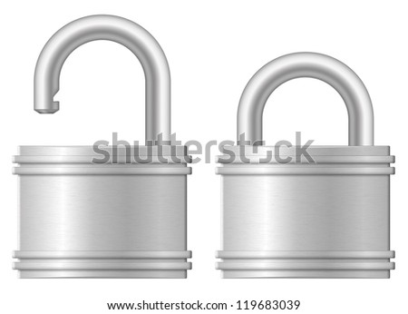 Vector illustration of open and closed padlocks - stock vector