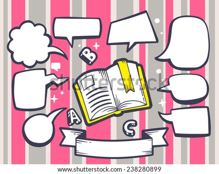 Vector illustration of open book with speech comics bubbles on pink pattern background. Line art design for web, site, advertising, banner, poster, board and print. - stock vector