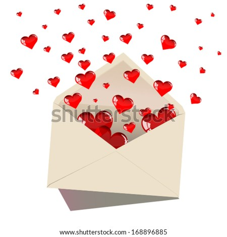Vector illustration of Open envelope with glass red hearts for valentine day on white background - stock vector