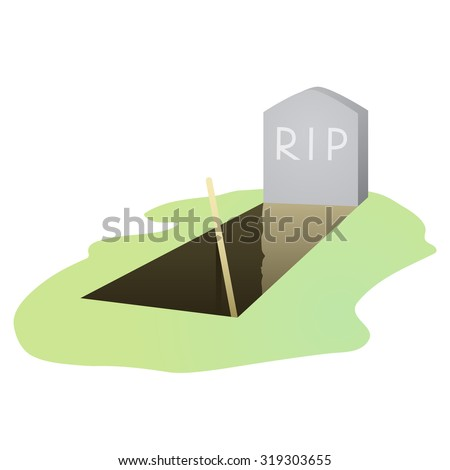 vector illustration of open grave and headstone - stock vector