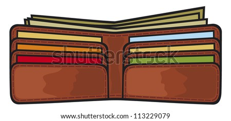 vector illustration of open wallet with dollars and credit ...