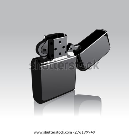 Vector Illustration of Opened Silver Cigarette Lighter - stock vector