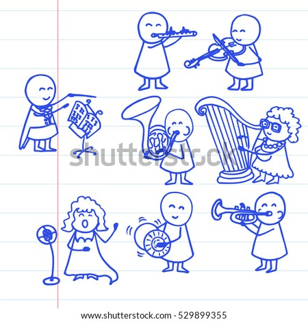 Vector illustration of opera singer and orchestra. Funny music background on notebook page.