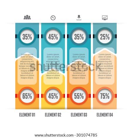 Vector illustration of opposing bars infographic design elements. - stock vector