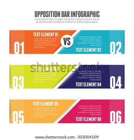 Vector illustration of opposition bar infographic design element. - stock vector