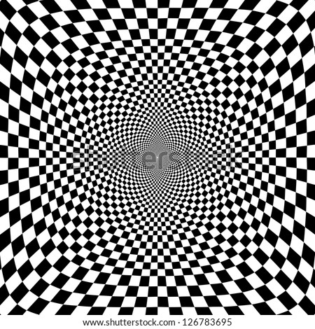 Vector illustration of optical illusion black and white chess background - stock vector
