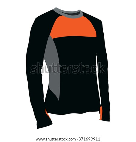 Vector illustration of  orange and black t-shirt. Sport clothes for man and woman. Shirt with long sleeves design template - stock vector