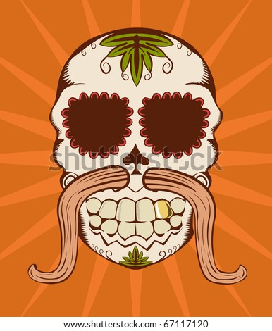 Vector illustration of orange decorative sugar skull - stock vector