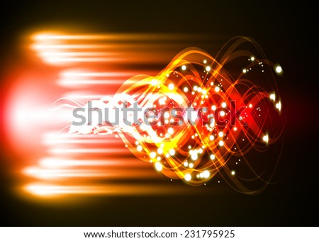 Vector illustration of orange red abstract background with blurred magic neon light curved lines. wave. Technology background for computer graphic website internet. - stock vector