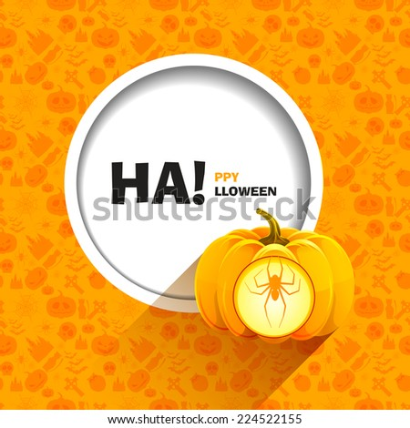 Vector illustration of orange seamless patterns for a happy Halloween party. Spider carved on a pumpkin for Halloween shining from inside. Use for brochures, printed materials, banner, greeting, card. - stock vector