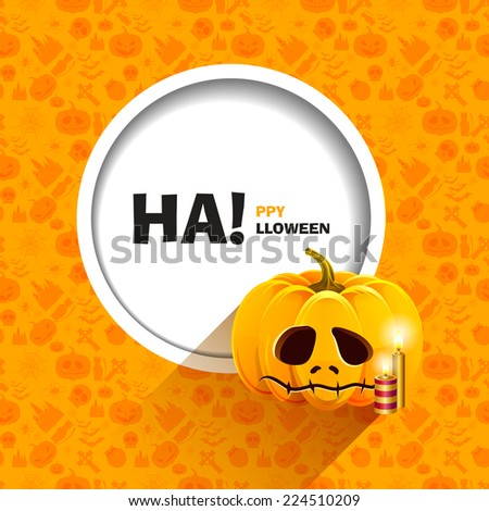 Vector illustration of orange seamless patterns for a happy Halloween party. Unhappy pumpkin for Halloween with candles. Use for brochures, printed materials, banner, greeting, card. - stock vector