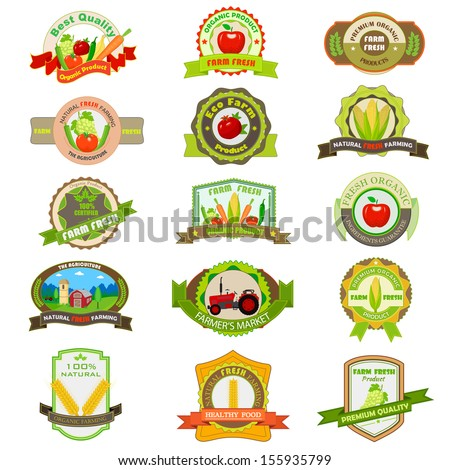 vector illustration of organic farm product tag and label - stock vector