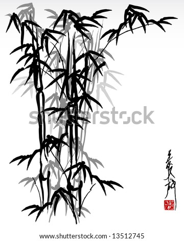 vector illustration of oriental painting, bamboo - stock vector