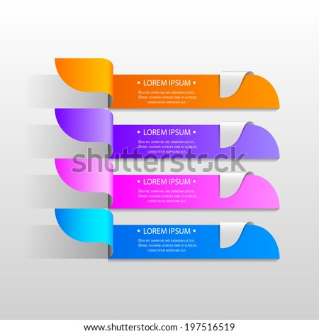 vector illustration of origami style background with multicolor strip for different choice, option or step - stock vector