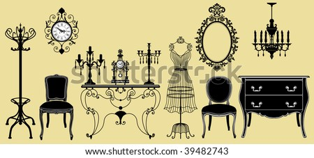 Vector illustration of original antique furniture collection