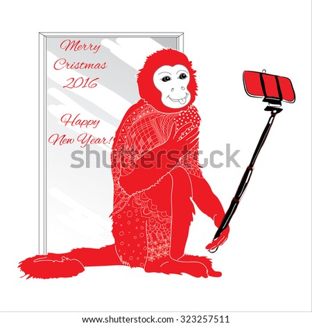 Vector illustration of ornamental  Christmas monkey with selfie