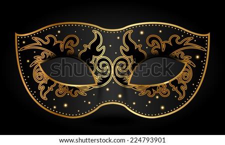 Vector illustration of ornate mask - stock vector