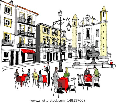 Vector illustration of outdoor diners in city square, Evora, Portugal - stock vector