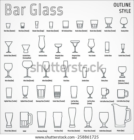 Vector Illustration of Outline silhouette Set of Bar Glass  for Design, Website, Background, Banner. Restaurant Element Isolated Template for Menu. Vodka, Beer, Whiskey, Wine for Infographic - stock vector
