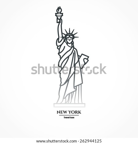 Vector Illustration of Outline     Statue of liberty Icon for Design, Website, Background, Banner. Silhouette Landmark Symbol of USA. Travel Infographic Element Template - stock vector
