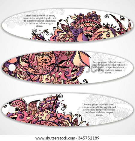 Vector illustration of oval banner, card with floral color zentangl, dudling.