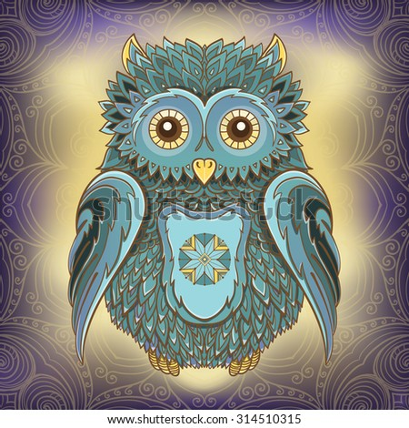 Vector illustration of owl on ornamental background. Design template for cards. eps 10