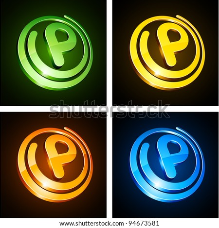 Vector illustration of p shiny letters. - stock vector