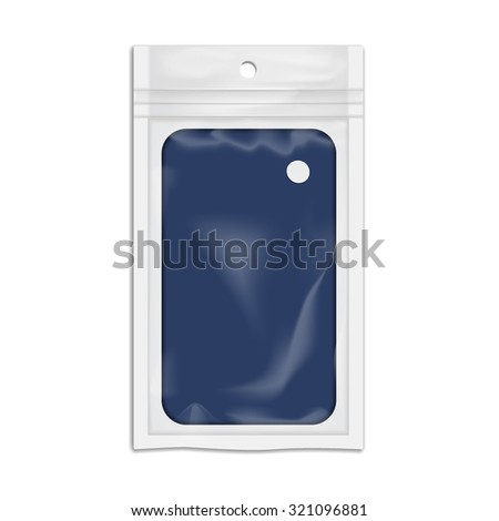 Vector Illustration of Package Plastic Pocket for Design, Website, Banner. Pack Element. Mock up Template for your branding or product. Isolated on white background