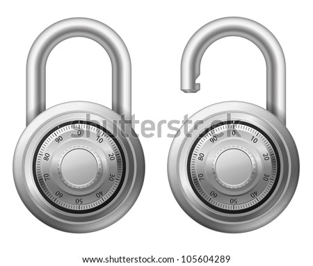 Vector illustration of padlock with combination lock wheel - stock vector
