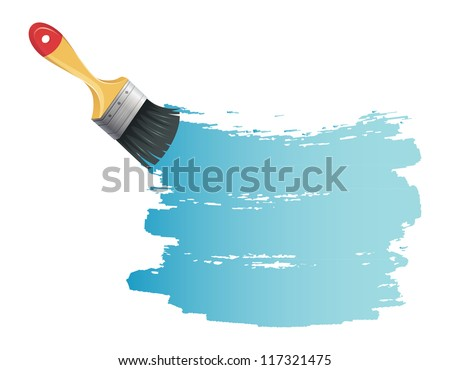 Vector illustration of Paint brush with blue splash - stock vector